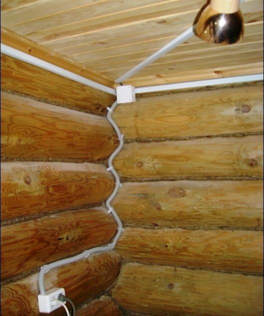 Проводка в деревянной бане